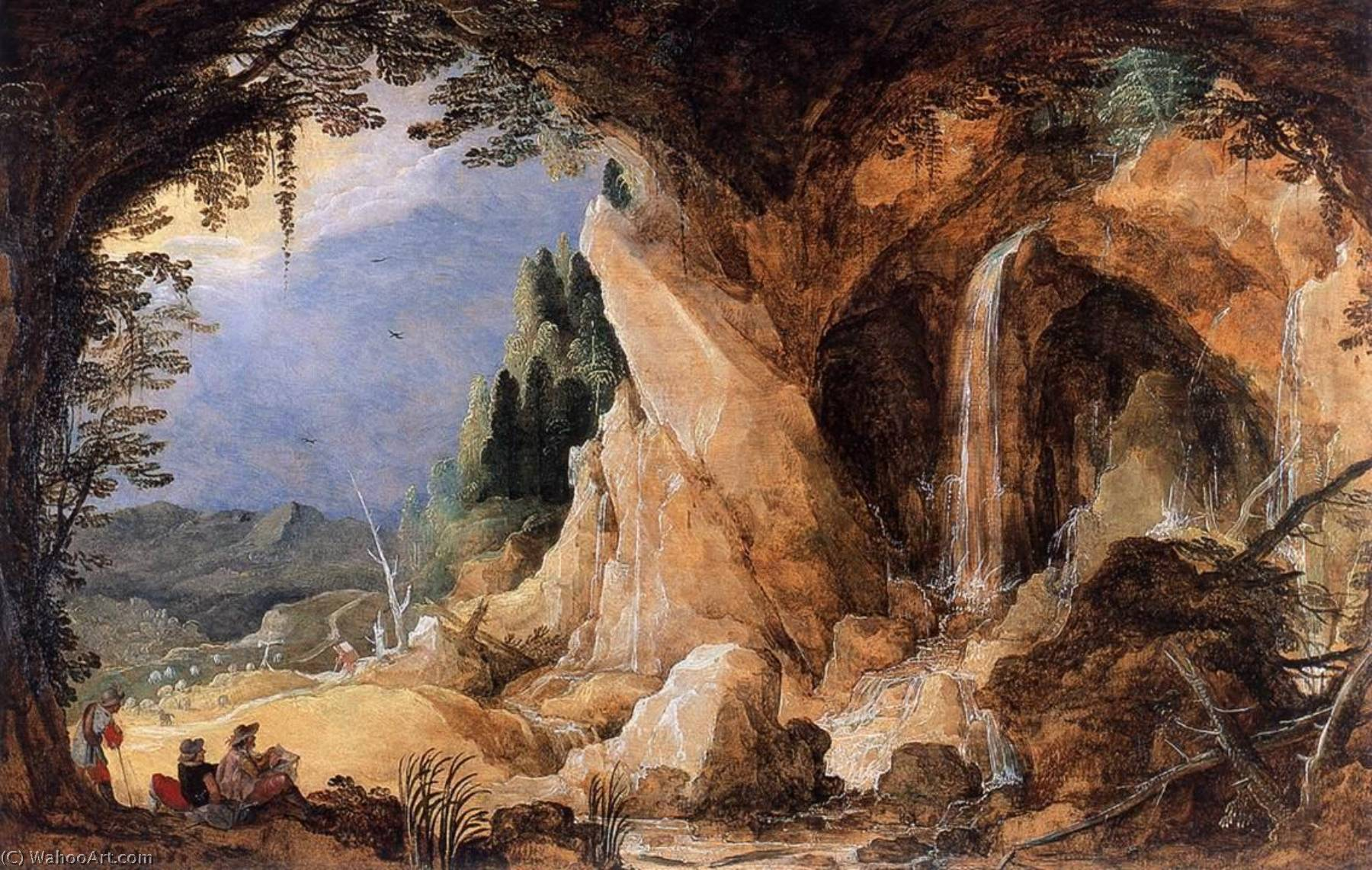 Landscape with Grotto, 1600 by Joos De Momper The Younger (1564-1635) | Painting Copy | WahooArt.com