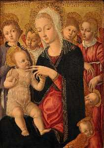 Matteo Di Giovanni Di Bartolo - Madonna and Child with Angels and Cherubim