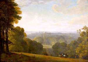 George Arnald - The Long Drive at Windsor Castle with Figures Riding in the Foreground