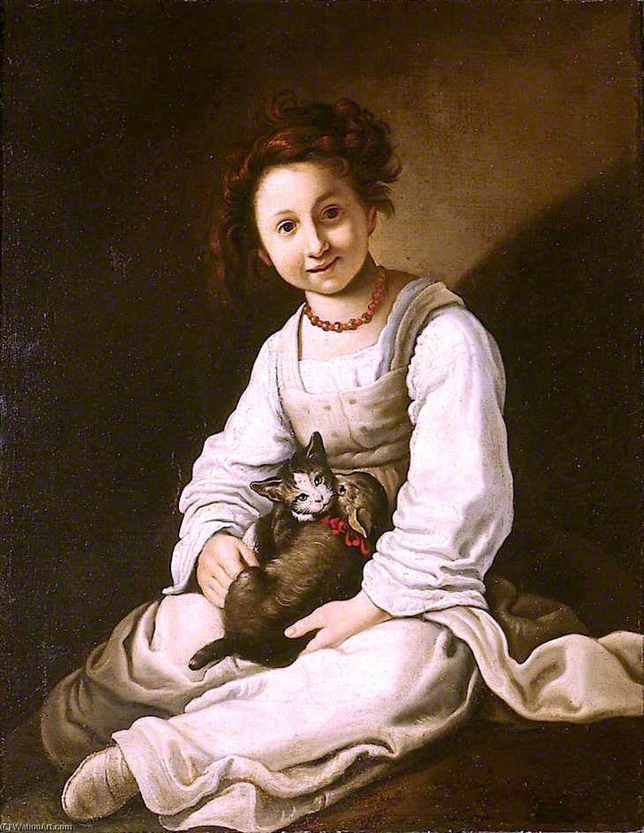 Girl with a Dog and a Kitten by Giacomo Francesco Cipper (1664-1736, Austria) | Oil Painting | WahooArt.com