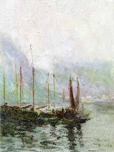 Maurice Cullen - Misty Morning, Fishing Boats at Harbour