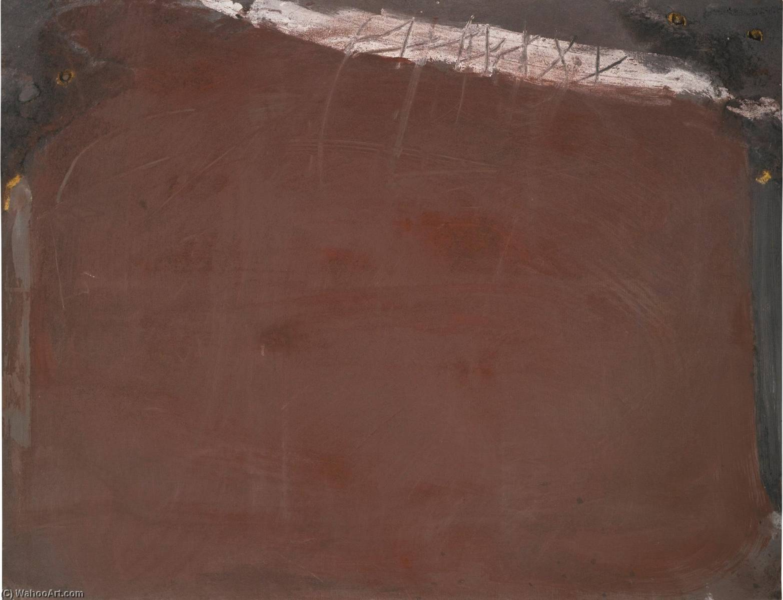 Pintura Oscura con Pincelada Blanca by Antoni Tàpies (1923-2012, Spain) | Museum Quality Reproductions | WahooArt.com