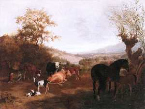 Adam Töpffer - Geneva Landscape with Horses and Cows