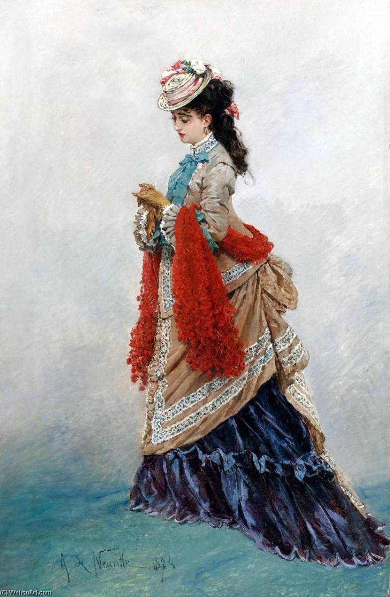 An Elegant Woman by Alphonse Marie Adolphe De Neuville (1836-1885, France) | Famous Paintings Reproductions | WahooArt.com
