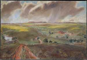 John Steuart Curry - Spring Shower (Western Kansas Landscape)