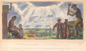 John Steuart Curry - The Homestead and the Building of the Barbed Wire Fences (Mural Study for Interior Building, General Land Office, Washington, D.C.)