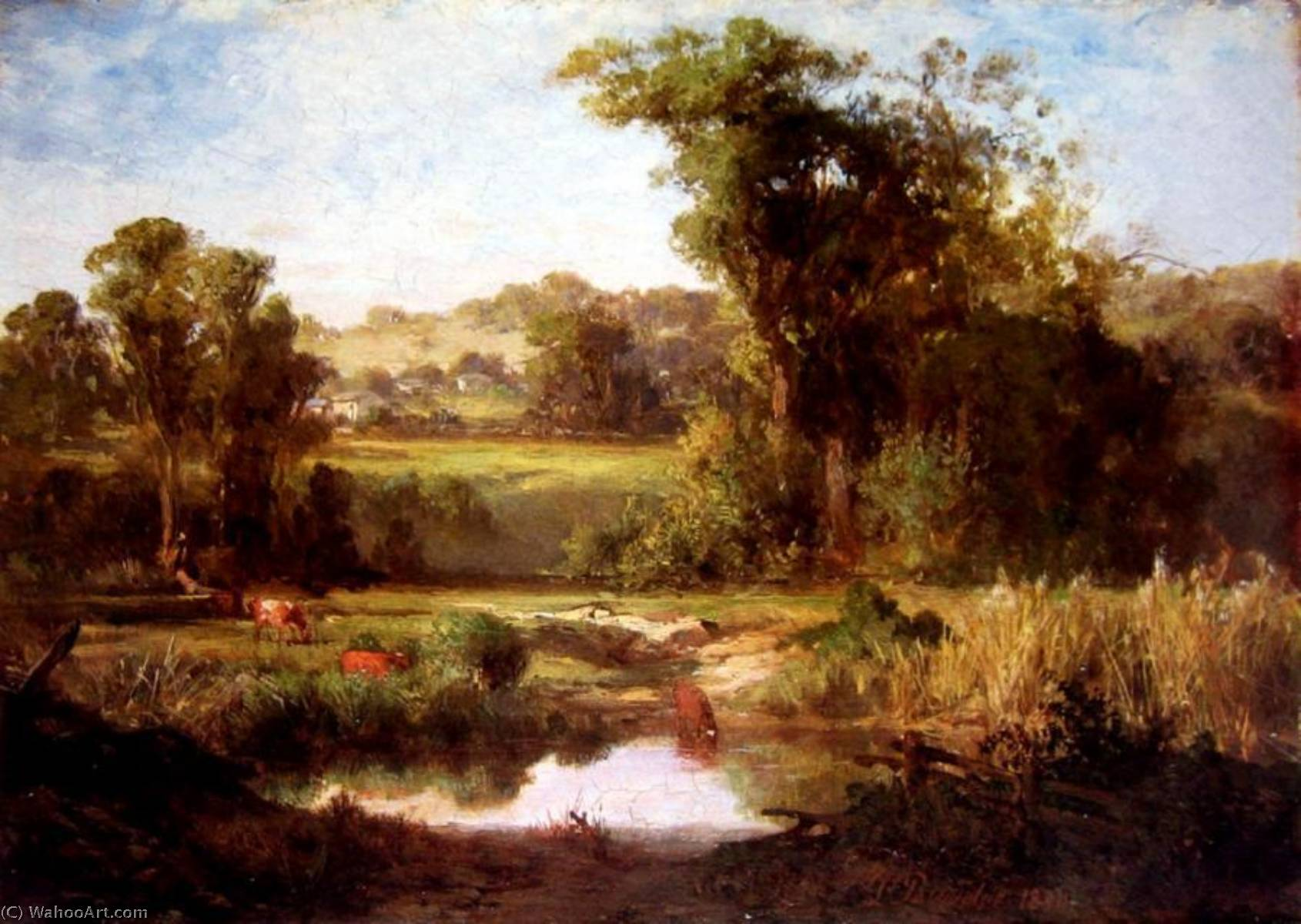 Lagoon near Heidelberg by Louis Buvelot (1814-1888, Switzerland) | Art Reproductions Louis Buvelot | WahooArt.com