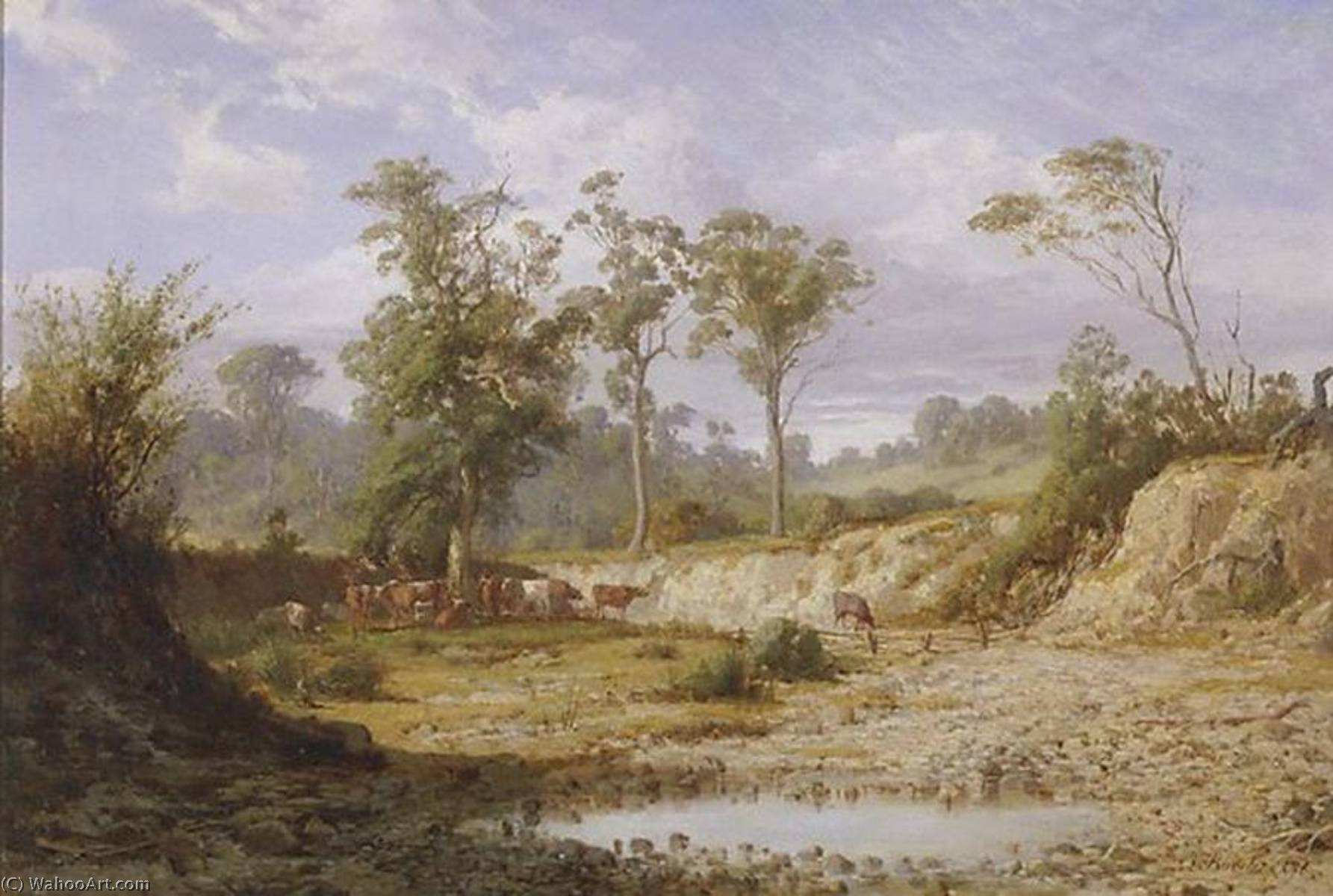 Goodman`s Creek, Bacchus Marsh, Victoria, 1876 by Louis Buvelot (1814-1888, Switzerland) | Museum Quality Copies Louis Buvelot | WahooArt.com