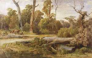 Louis Buvelot - Man with Horse and Cart