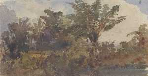 Louis Buvelot - Landscape with Palm