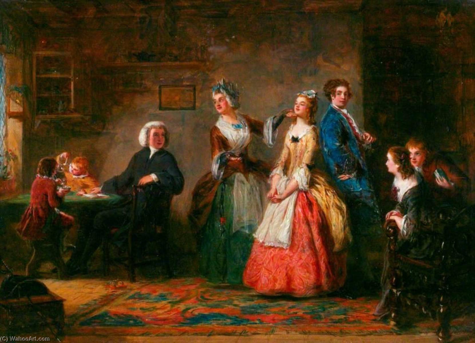Measuring Heights (from Oliver Goldsmith's 'The Vicar of Wakefield'), Oil On Panel by William Powell Frith (1819-1909, United Kingdom)