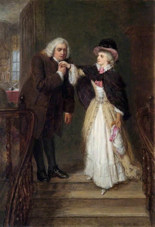 Dr Johnson and Mrs Siddons in Bolt Court, 1887 by William Powell Frith (1819-1909, United Kingdom) | Art Reproductions William Powell Frith | WahooArt.com