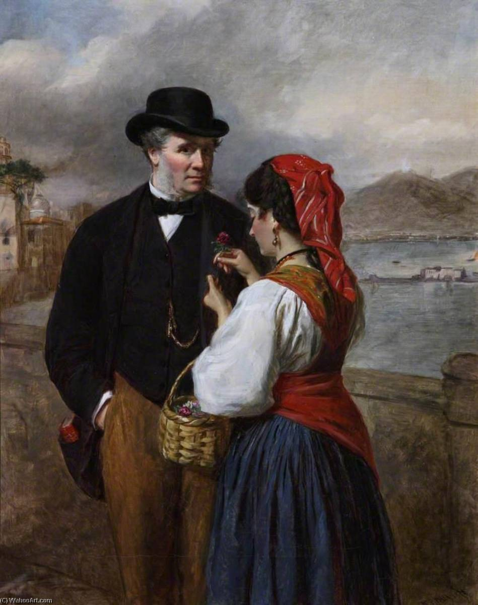 Order Museum Quality Copies | In Naples, Portrait of the Artist, 1875 by William Powell Frith (1819-1909, United Kingdom) | WahooArt.com