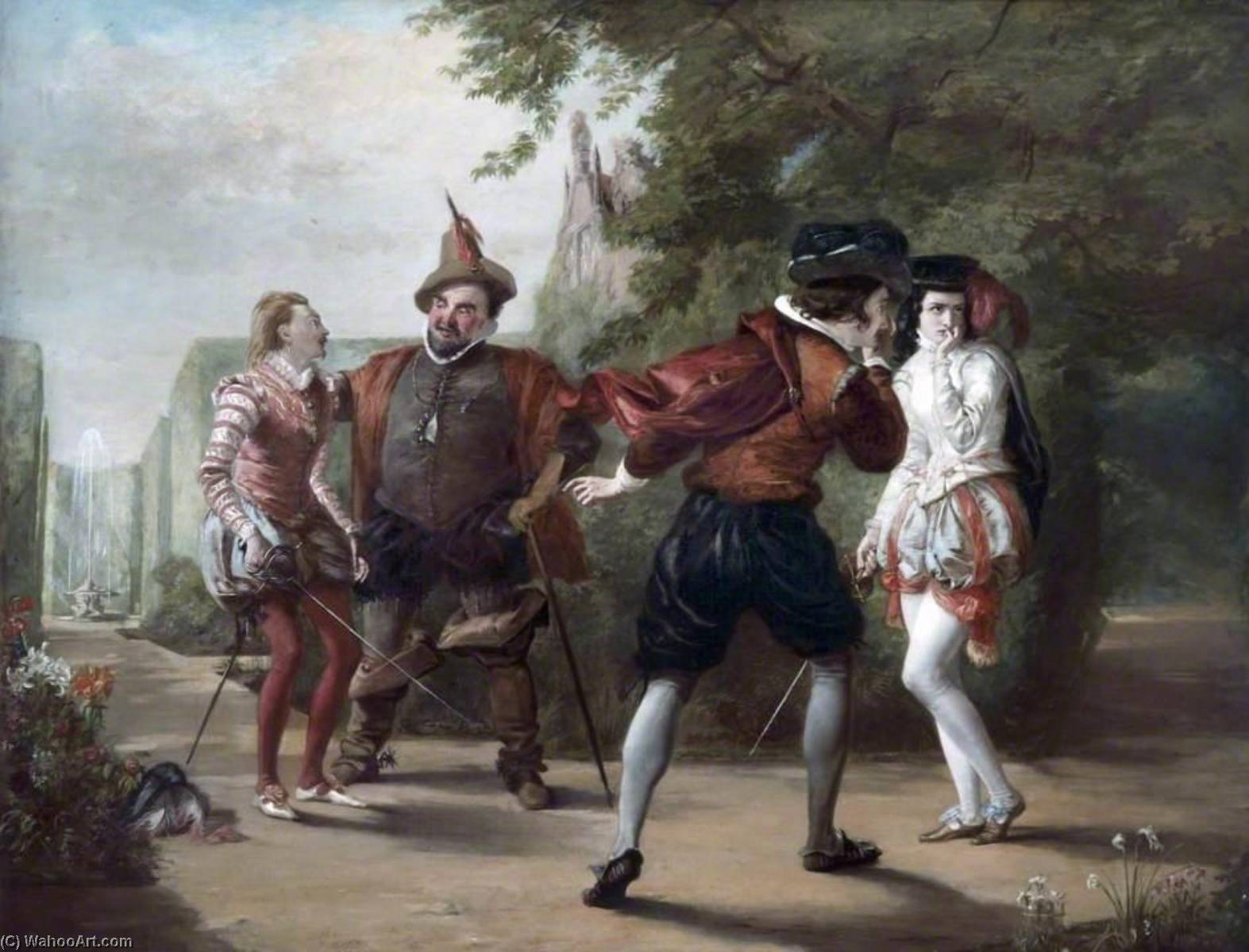 Order Museum Quality Reproductions : The Duel Scene from `Twelfth Night` by William Shakespeare, 1842 by William Powell Frith (1819-1909, United Kingdom) | WahooArt.com