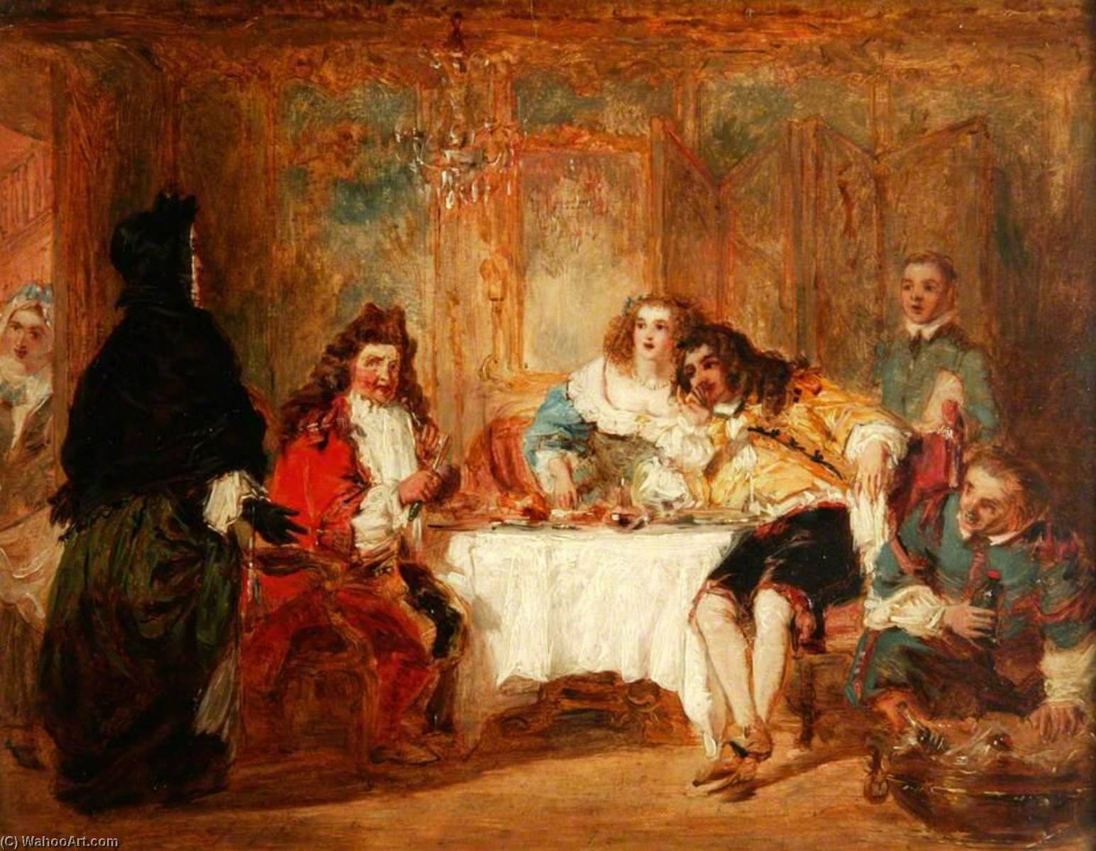 Mme Jourdain Discovers Her Husband at the Dinner Which He Gave to the Marquise and Count Dorante, Oil On Panel by William Powell Frith (1819-1909, United Kingdom)