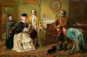 William Powell Frith - Mr Honeywood Introduces the Bailiffs to Miss Richland as His Friends (also known as rom Oliver Goldsmith-s -The Good Natured Man-, Act III, Scene 1)