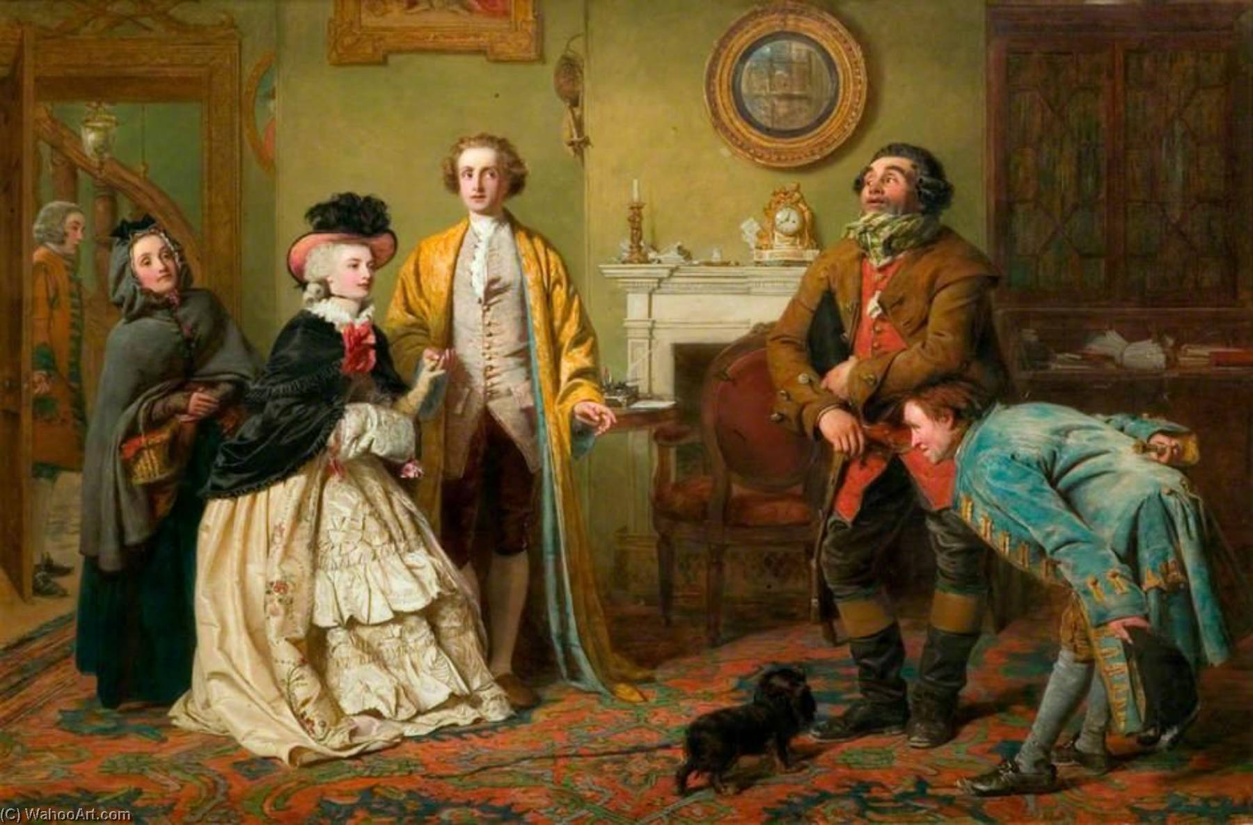 Mr Honeywood Introduces the Bailiffs to Miss Richland as His Friends (also known as rom Oliver Goldsmith's 'The Good Natured Man', Act III, Scene 1), Oil On Canvas by William Powell Frith (1819-1909, United Kingdom)