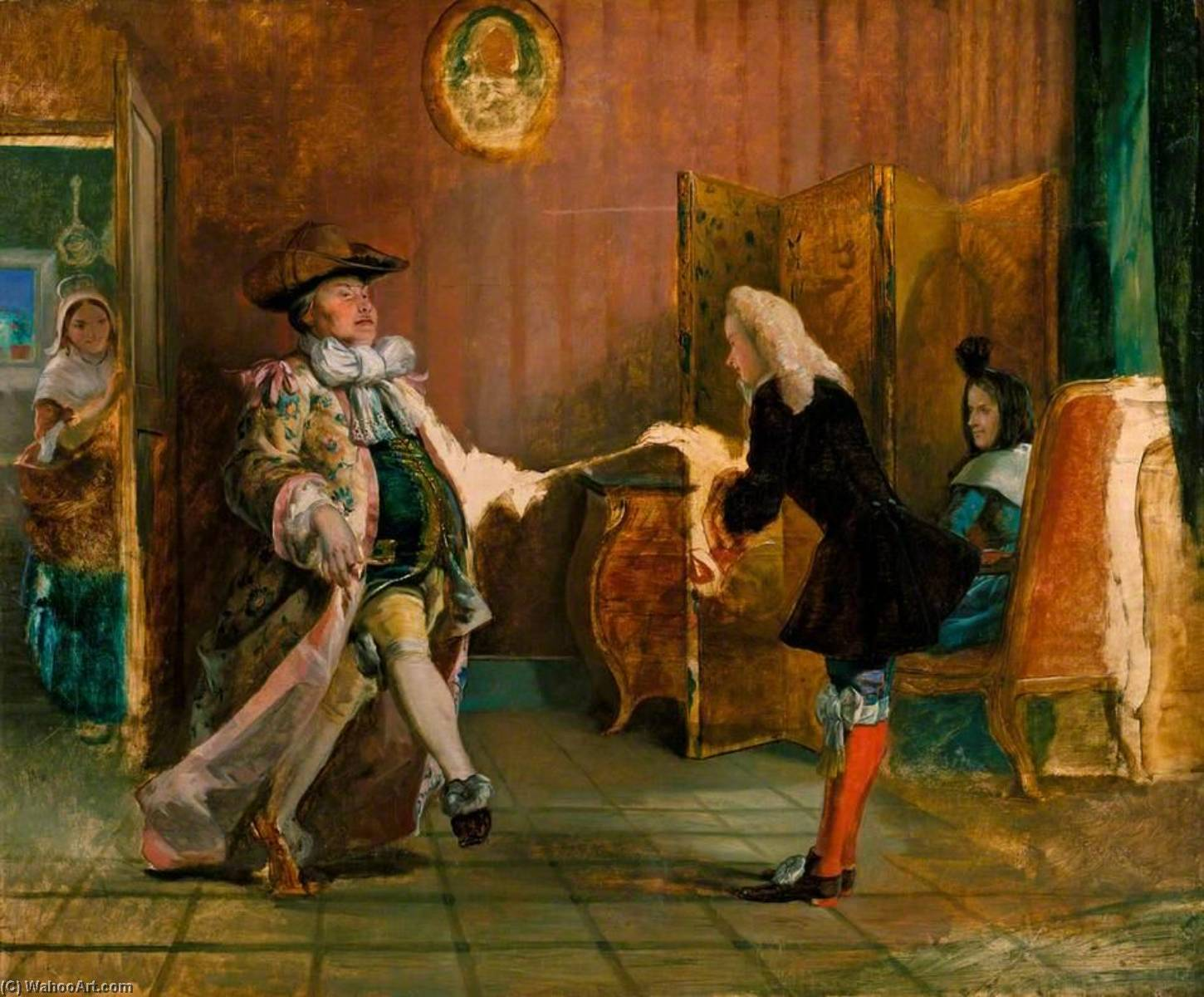 Monsieur Jourdain's Dancing Lesson (from Molière's 'Le Bourgeois Gentilhomme', Act II, Scene 1), Oil On Canvas by William Powell Frith (1819-1909, United Kingdom)