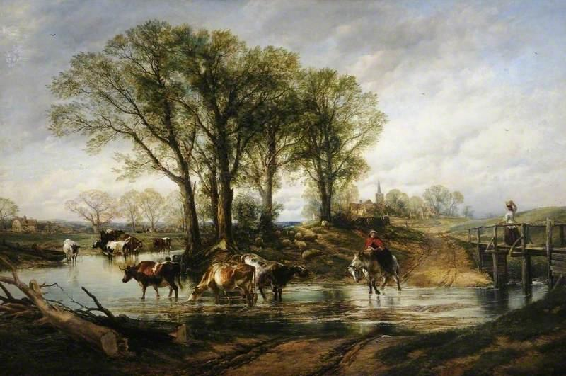 Landscape with Cattle, Oil On Canvas by William Powell Frith (1819-1909, United Kingdom)