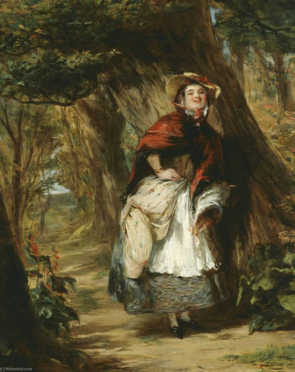 Dolly Varden, 1842 by William Powell Frith (1819-1909, United Kingdom) | Famous Paintings Reproductions | WahooArt.com