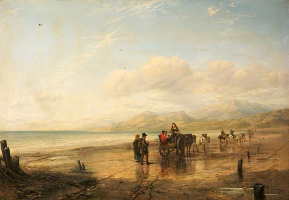 Lancaster Sands, Lancashire, Oil On Canvas by William Powell Frith (1819-1909, United Kingdom)