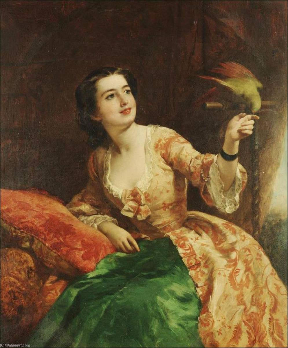 The green parrot, Oil On Canvas by William Powell Frith (1819-1909, United Kingdom)