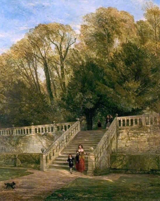 Haddon Hall Steps, Derbyshire, Oil On Canvas by William Powell Frith (1819-1909, United Kingdom)