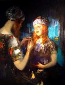 James Jebusa Shannon - Knitting, Nora Ward and Kitty Shannon