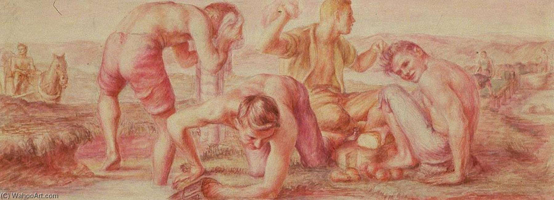 Mealtime, The Early Coal Miners (study for Plymouth, Pennsylvania Post Office Mural), Watercolour by Jared French (1905-1988, United States)