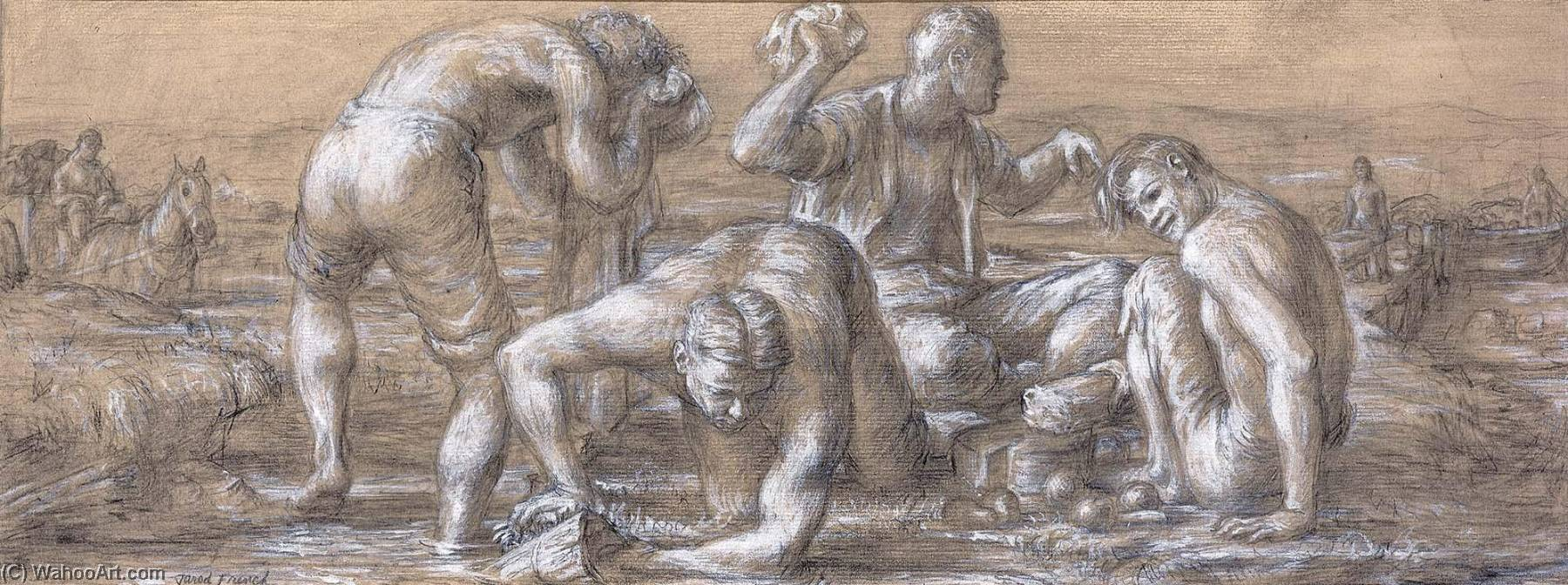 Mealtime, the Early Coal Miners (mural study, Plymouth, Pennsylvania Post Office), Pen by Jared French (1905-1988, United States)