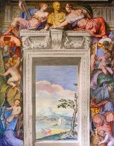 Giovanni Battista Zelotti - Frescoes in the Hall of the Arts (detail)