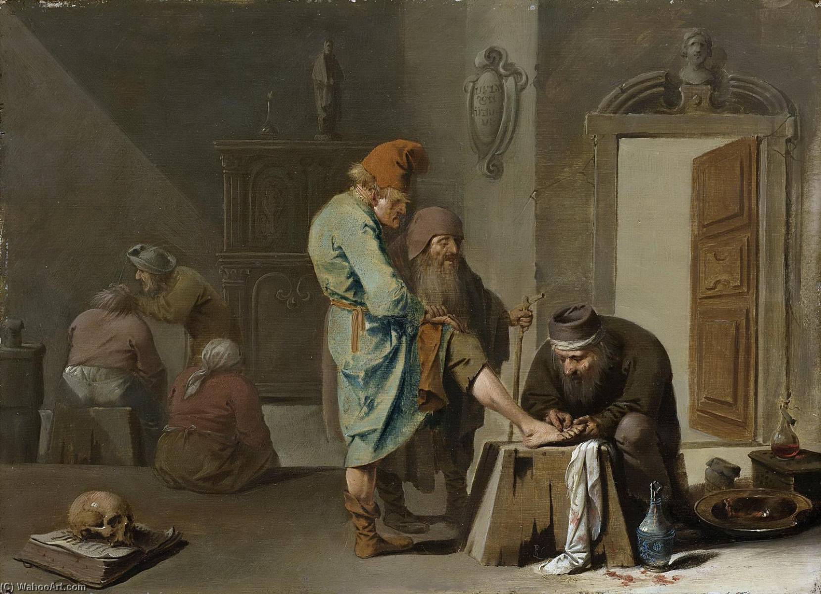 Foot Surgery, Oil On Panel by Pieter Jansz Quast (1606-1647, Netherlands)