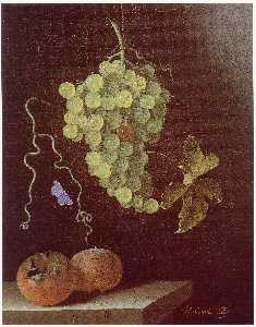 After Adriaen Coorte - English Still life with hanging bunch of grapes, two medlars and a butterfly