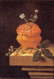 After Adriaen Coorte - English Still life with a pot of strawberries on a stone table