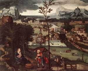 Joachim Patinir - Landscape with the Rest on the Flight into Egypt