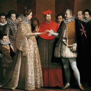 Order Paintings Reproductions | The Marriage of Marie de`Medici, 1600 by Jacopo Chimenti (1551-1640) | WahooArt.com