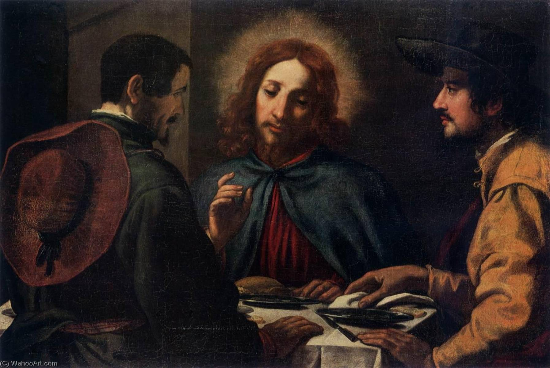 Supper at Emmaus by Jacopo Chimenti (1551-1640) | Museum Art Reproductions Jacopo Chimenti | WahooArt.com