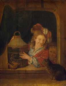 Order Museum Quality Copies | Children with a Cage and a Cat, 1680 by Eglon Van Der Neer (1635-1703, Netherlands) | WahooArt.com