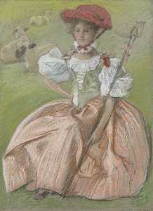 Edwin Austin Abbey - Lady in pink dress as shepherdess