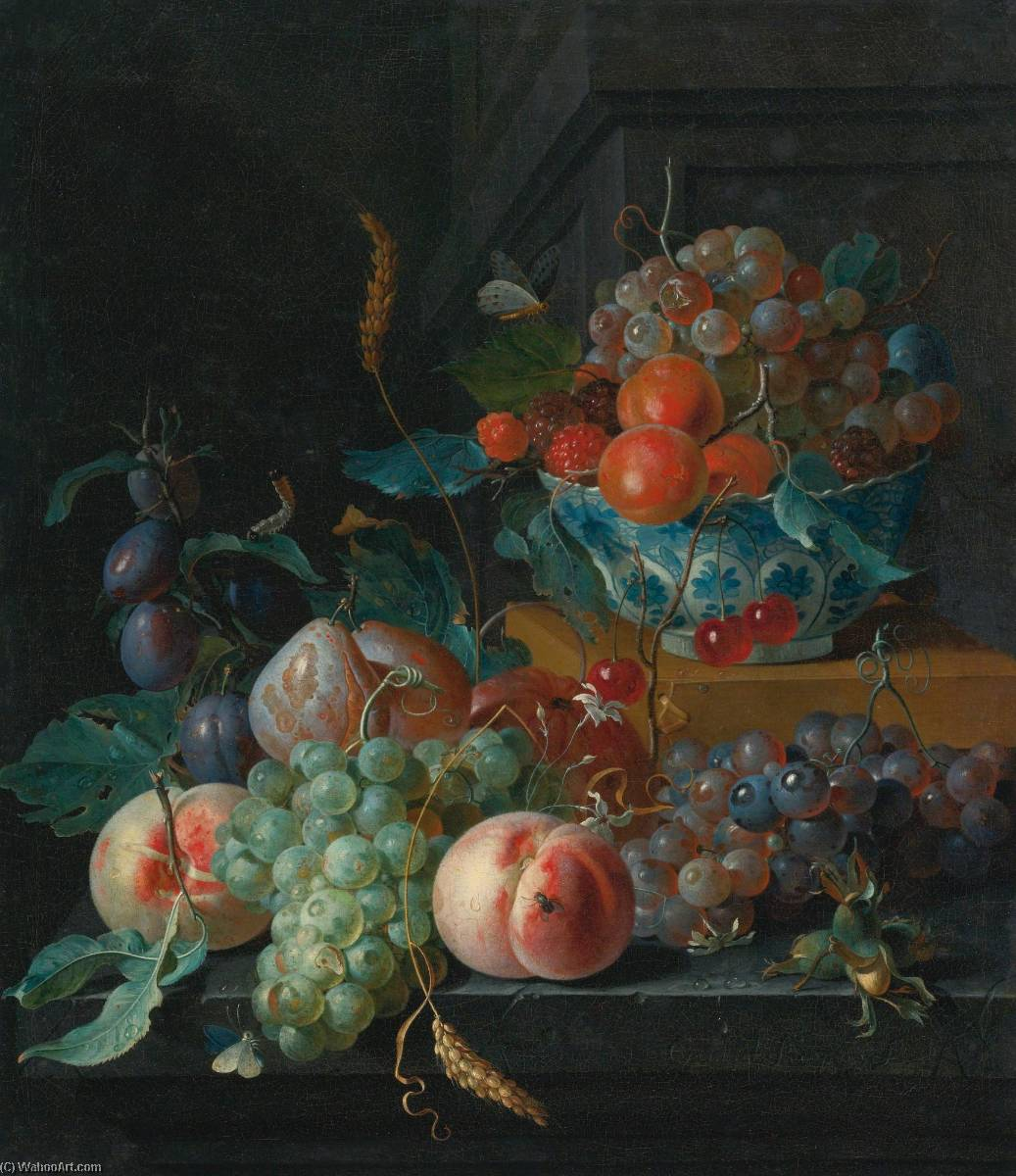 Still life of fruit on a ledge and in a blue and white porcelain bowl by Coenraet Roepel | Famous Paintings Reproductions | WahooArt.com