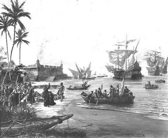 Português Estácio de Sá em São Vicente, 1565 (Partida de Estácio de Sá) English Estácio de Sá in São Vicente, 1565 (Departing of Estácio de Sá) by Benedito Calixto (1853-1927, Brazil) | Famous Paintings Reproductions | WahooArt.com