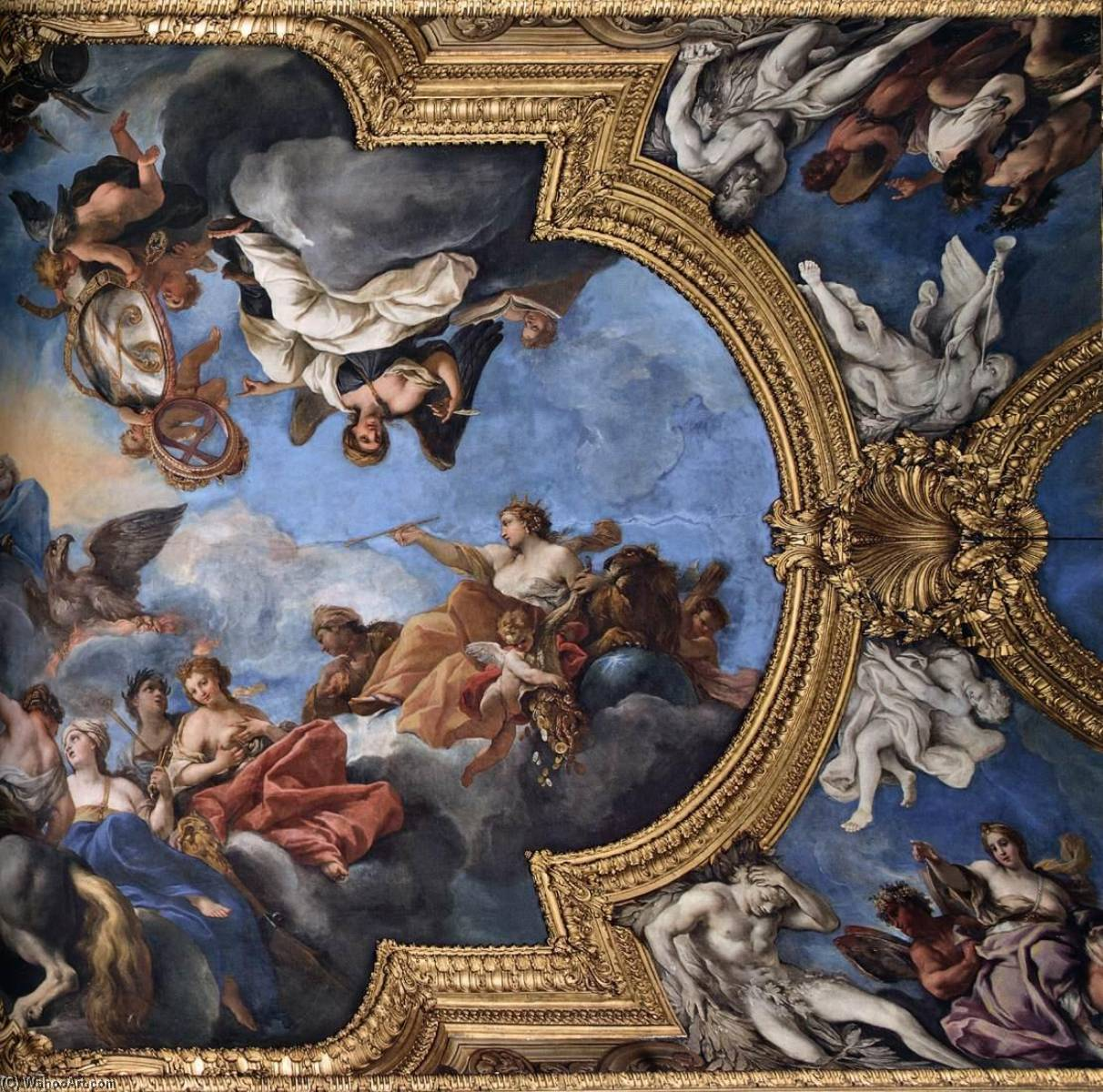 Order Paintings Reproductions | Ceiling of the Galleria del Daniel (centre section detail), 1690 by Daniel Seiter (1649-1705) | WahooArt.com