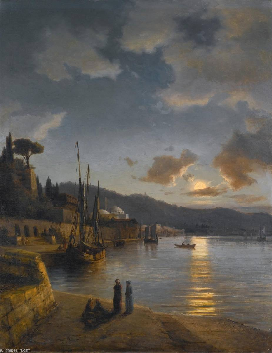 A Turkish Harbour by Moonlight, Oil On Canvas by Anton Melbye (Daniel Herman Anton Melbye) (1818-1875)