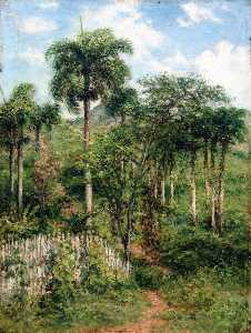 Francisco Oller - Landscape with Royal Palms