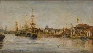 Benedito Calixto - English Market Quay in 1885 Português Cais do Mercado em 1885