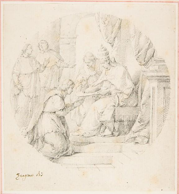 Angelo Maria Querini Created Cardinal by Benedict XIII, Drawing by Cerchia Di Francesco Zugno (1708-1787)