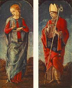 Cosmè Tura - Virgin Announced and St Maurelio (panels of a polyptych)