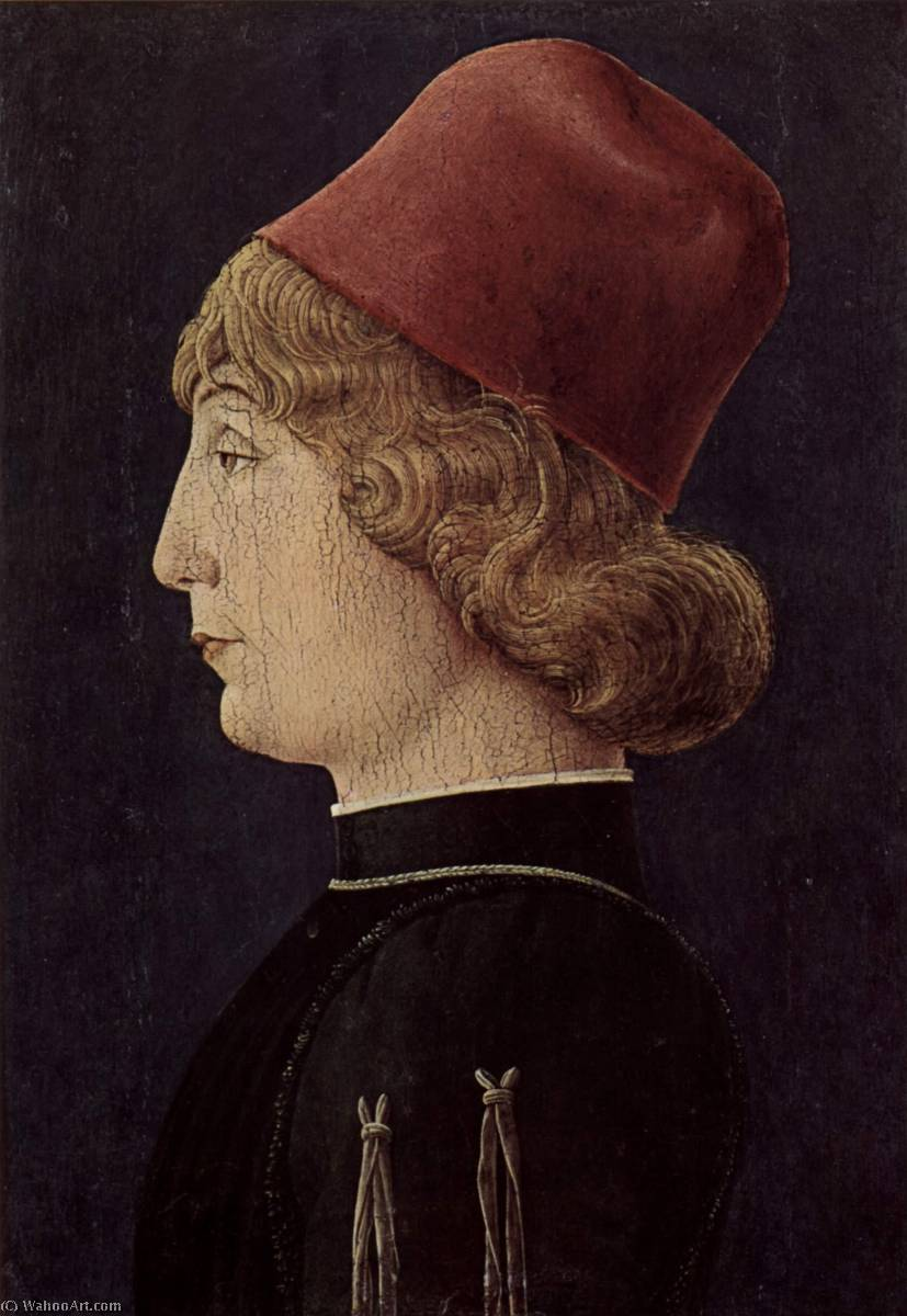 Deutsch Porträt eines Mannes English Portrait of a prince from Este family, 1452 by Cosmè Tura (1430-1495, Italy) | Paintings Reproductions Cosmè Tura | WahooArt.com