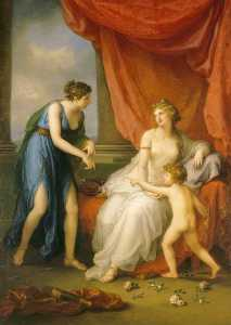 Order Reproductions | Euphrosyne Complaining to Venus of the Wound Caused by Cupid s Dart, 1793 by Angelica Kauffman (Maria Anna Angelika) (1741-1807) | WahooArt.com