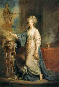 Angelica Kauffman (Maria Anna Angelika) - Portrait of a Woman as a Vestal Virgin